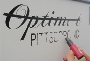 heat gun softens lettering