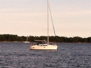 Two other boats anchored in South River near Oriental