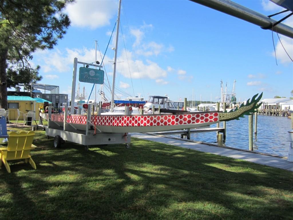 Dragon Boat on display at Oriental Inn & Marina