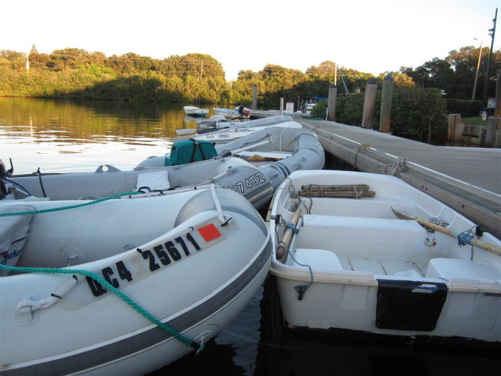 Just a few of the dinghies at Vero Beach Ciry Marina- and the bus stops at the dinghy dock, too.