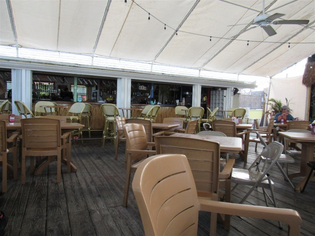 Table and bar seating at Dockside in Marathon Florida