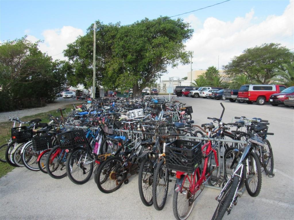 One of multiple bike racks serving 200+ boats