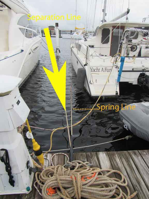 Note the pole to cleat line which helps guide our catamaran into the slip.  It adds a line of separation between the boats, too.